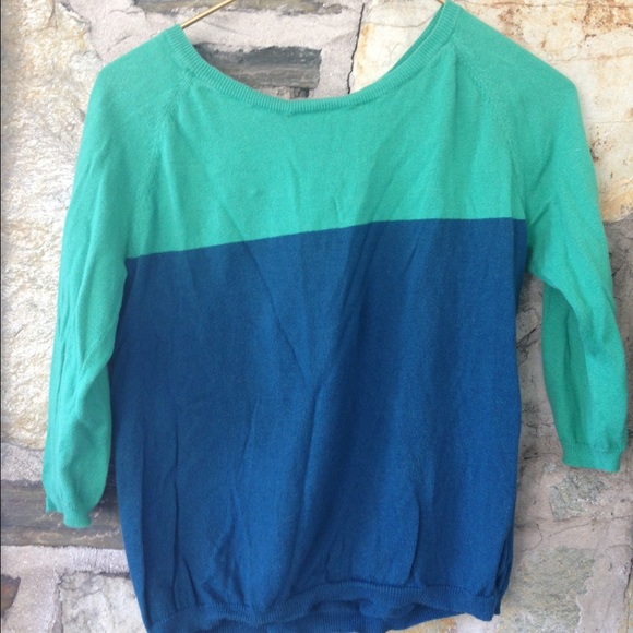 a.n.a Tops - Ana green and blue zipper back knit top. Sz small