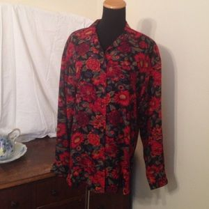 Beautiful, vintage, sheer floral blouse
