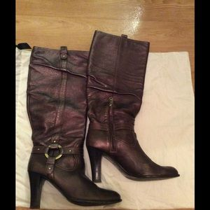 Brown metallic finish leather boots