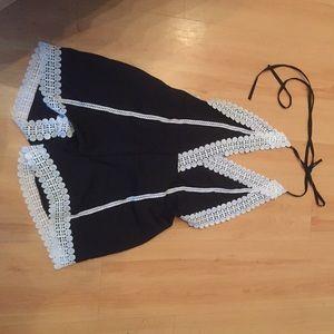 Black romper with cream lace, very cute!