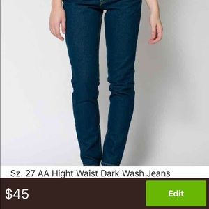 American Apparel Denim - SOLD💕💕💕 High Waist AA Dark Wash Mom Jeans