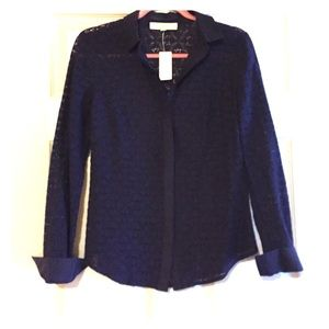 LOFT navy lace button up long sleeve