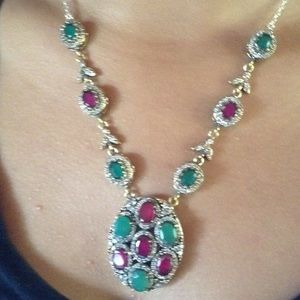 Jewelry - Emerald Ruby And Topaz Necklace