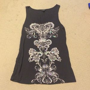 Gray Express tank top with sequin design