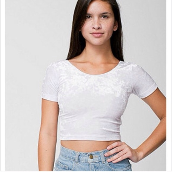 bbd9f7b516e 🚨🚨SOLD🚨🚨AA White Crushed Velvet Crop Tee