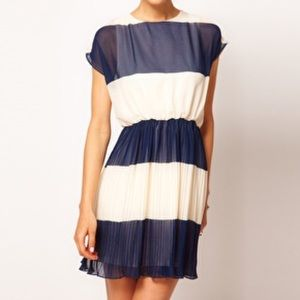 ASOS Striped Pleated Dress