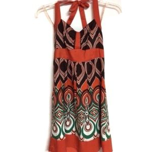 Halter bohemian dress, unique print