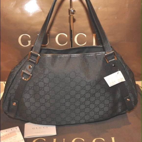 2ac1dc8bc72 GUCCI Abbey D ring Black GG monogram hobo tote bag