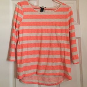 H&M 3/4 Sleeve Shirt, Coral and White