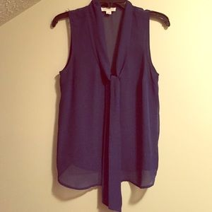 Navy Tie Front Chiffon Blouse