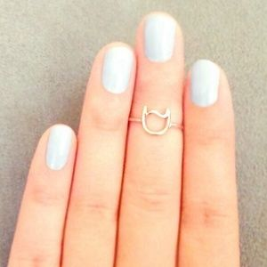 Knuckle Midi Ring Thin Stacking Cat Wire Ring Sz 4