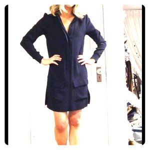 Navy blue viscose button down tunic