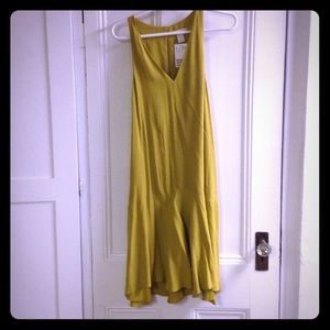 Yellow drop waist sleeveless dress