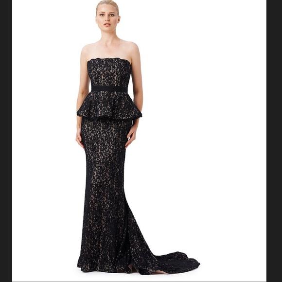 Adrianna Papell Dresses Black Strapless Mermaid Peplum Prom