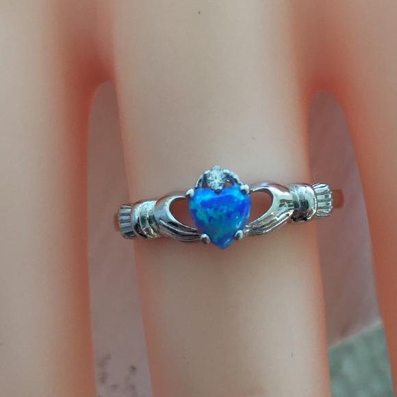Claddagh Ring Blue Opal