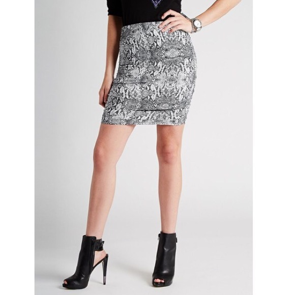 b46881b06f1 Ruched Snake Skin mini skirt by Guess