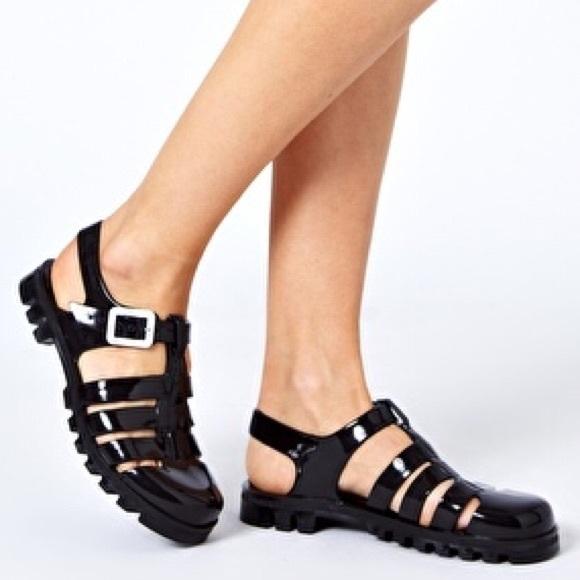 2938db144736 Juju Shoes - Juju Maxi Black Slingback Flat Jelly Sandals