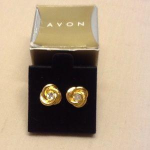 Center rhinestone knot pierced earrings vintage