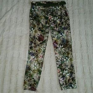 Zara Floral Print Pant with Belt