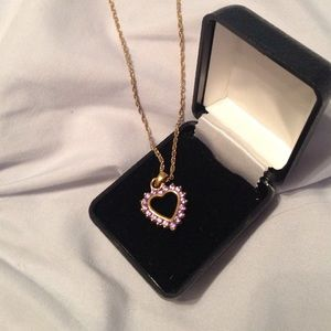 Amethyst Heart With Gold Plated Chain