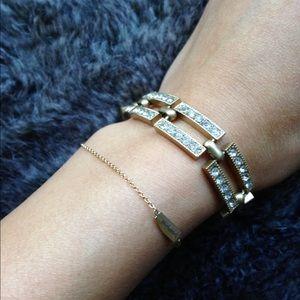 J. Crew Jewelry - J.Crew gold pave chain link bracelet