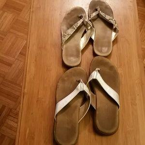 Shoes - 2 Pair Leather flip flops!!