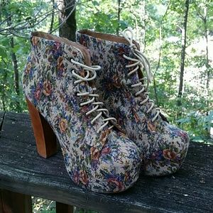 Jeffrey Campbell Shoes - Tapestry Lita Shoes Boots