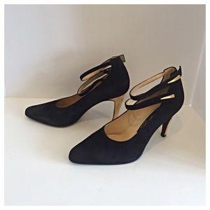 Sergio Rossi Shoes - Sergio Rossi Black Suede Pumps w/ Gold