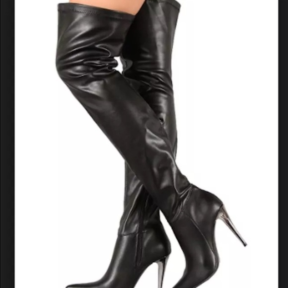 83% off Prima Diva Shoes - Faux leather thigh high boots. Worn ...