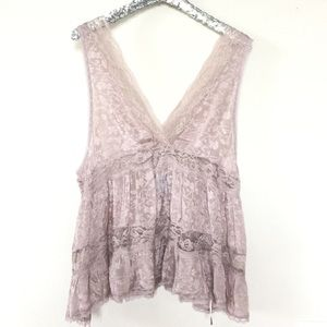 Free People Deep V Lace Tank