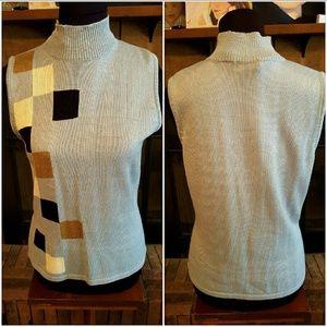 Baby blue sleeveless sweater geometric