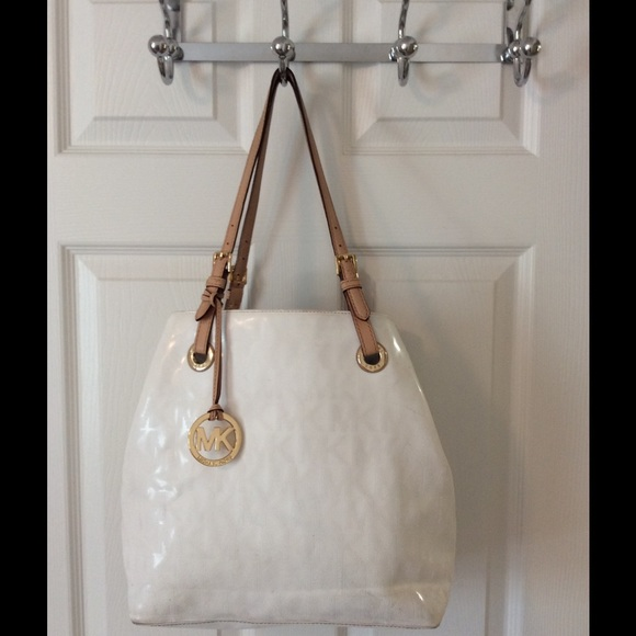 78% off Michael Kors Handbags - Michael Kors White Patent Leather ...