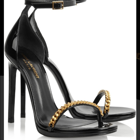 Saint Laurent Jane chain patent leather sandals