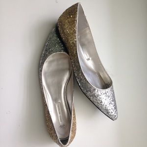 • Zara Silver & Gold Glitter Pointed Flats •