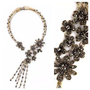 D24 Antiqued Black Gold Crystal Statement Necklace