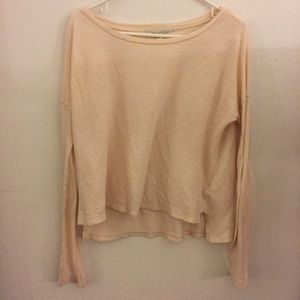 Forever21 cream/pink long sleeve shirt