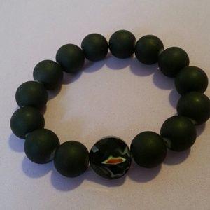 Women's black beads bracelet