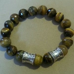 Men's tiger's eye beads bracelet