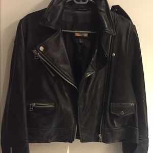 Mango Genuine Leather Biker Jacket