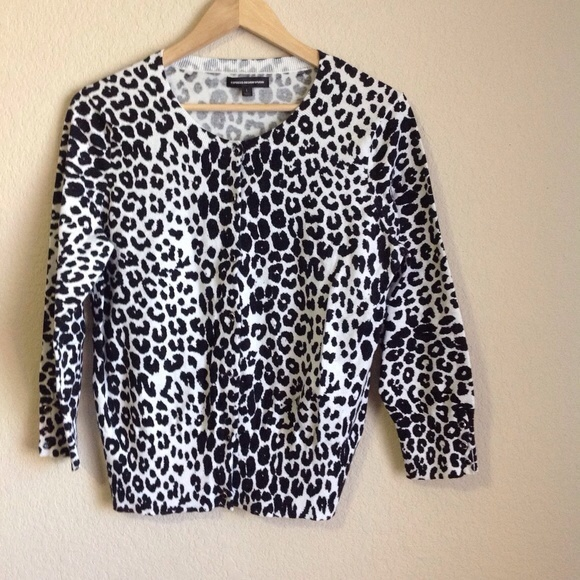 87% off Express Sweaters - Express Black/White Snow Leopard Print ...