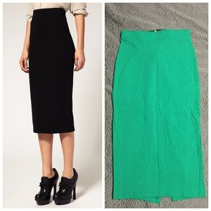 Asos pencil skirt with zip back. Green.