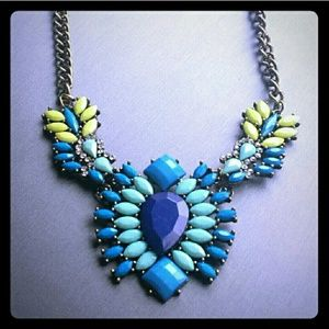 Pretty blue & yellow statement necklace