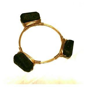 Black natural stone Wire bangle