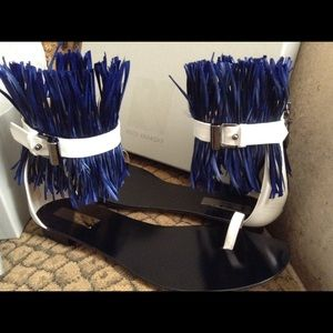 *NIB* Reed Krakoff Blue Ostrich Feather Sandals