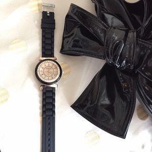 Watch Jewelry - Black And Gold Fashionista Watch