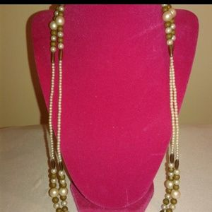 """Jewelry - 56"""" Pearl and Brown Necklace SALE"""
