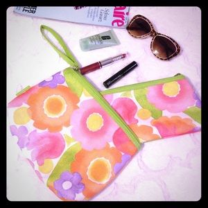 Clinique Handbags - CLINIQUE Set of 2 Floral Cosmetic Bags