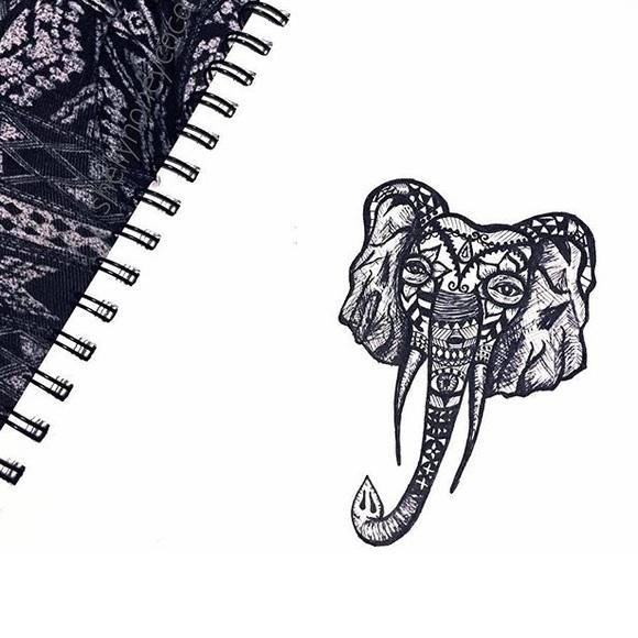 Lucky elephant print sticker handmade etsy art🎨💕