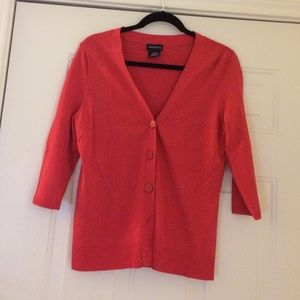 George Sweaters - Reddish-coral cardigan.