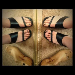 Ann Marino Shoes - Ann Marino Asymmetrical Black Leather Strap Heel